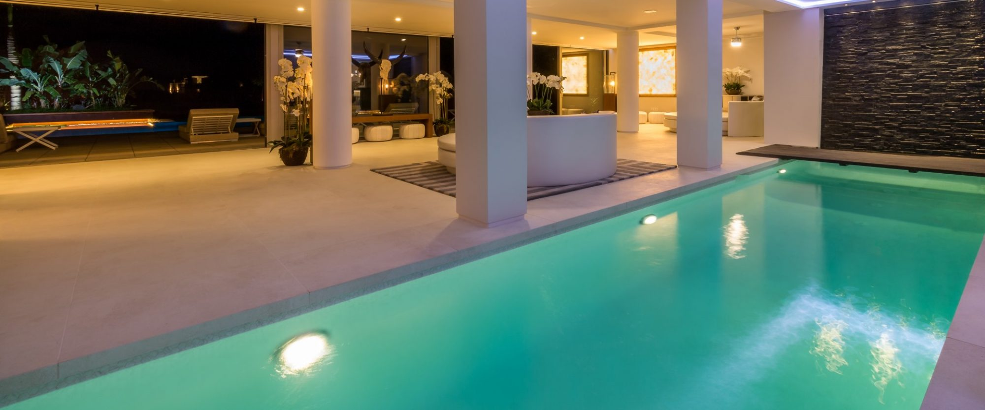 waterfall and spa swimming pool