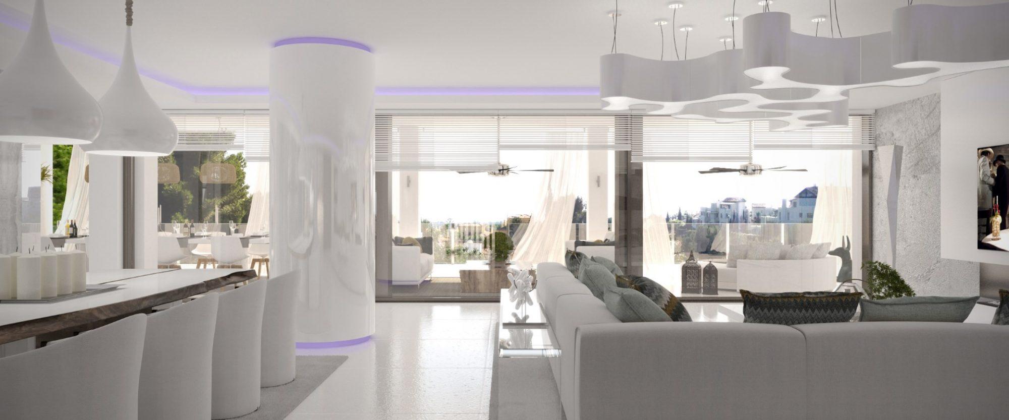 contemporary villa for sale in cascada de camojan reception
