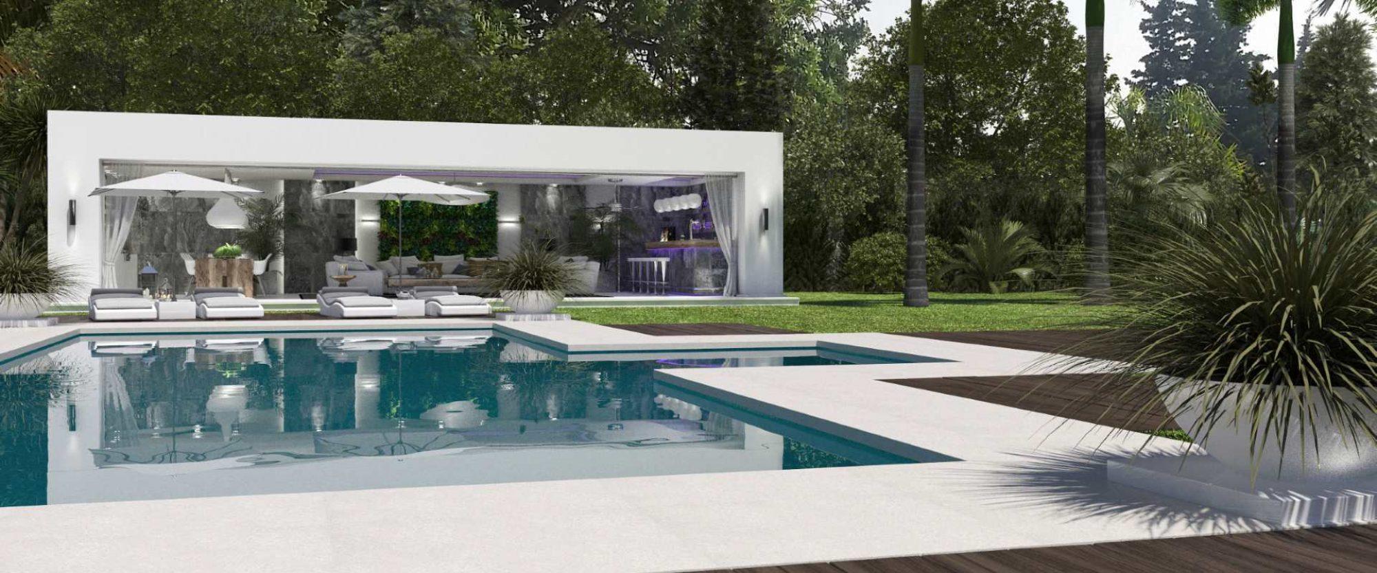 Modern villa for sale in cascada de Camojan Marbella pool area